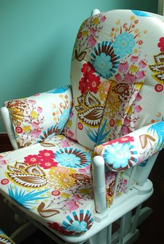 I'm thinking of making cushions for the rocking chair in Layla's room. I love this fabric!