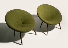 50's Mid Century Danish Modern Circular Pod Lounge Chairs Eames Era