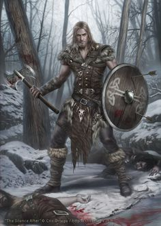 viking young fighter - The silence after, Cris Ortega Fantasy Male, Fantasy Warrior, Fantasy Rpg, Medieval Fantasy, Fantasy Artwork, Dark Fantasy, Dungeons And Dragons Characters, Dnd Characters, Fantasy Characters