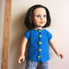 Veste longue cyan pour poupées 45 à 53 cm type journey girls ou maru & friends