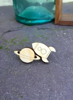 Mismatched Earrings Studs planet and rocket by FrozenStarHandmade