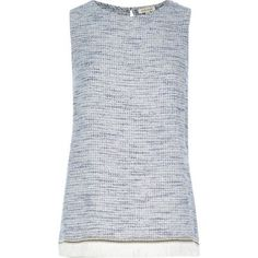 I'm shopping Blue embroidered fringe tank top in the River Island iPhone app.