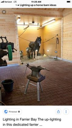 If I ever have my own barn, I want this Lighting in the Farrier Bay. The up-lighting in this dedicated farrier bay helps the shoer better see his or her work. Dream Stables, Dream Barn, Horse Stalls, Horse Barns, Barn Stalls, Pretty Horses, Beautiful Horses, Horse Ranch, Bay Horse
