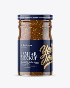 Clear Glass Jar with Fig Jam Mockup