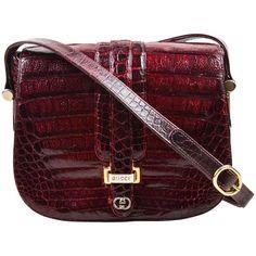 Vintage Gucci Maroon Caiman Crocodile Gold Tone Detail Flap Shoulder Bag 1