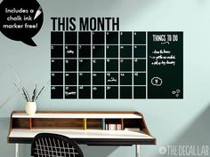 Modern Chalkboard Wall Decal Monthly Calendar, Free Chalk Ink Marker Included