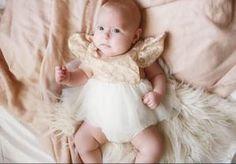 2a1dac8051e3 Kryssi Kouture Exclusive Newborn Victoria Vintage Lace Gold and Ivory Tutu  Dress