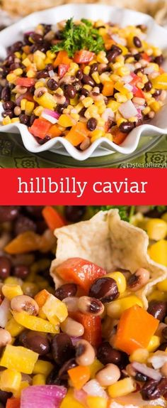 Hillbilly Caviar {Fresh Veggies and Beans make an Easy Side Dish for Summer Picnics} Hillbilly Caviar.an easy pepper, bean, onion, corn side dish that is served with tortilla chips. This is make-ahead recipe great for summer picnics! Camping Side Dishes, Cold Side Dishes, Side Dishes Easy, Side Dish Recipes, Picnic Side Dishes, Make Ahead Appetizers, Appetizers For Party, Appetizer Recipes, Picnic Recipes