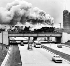 Steam engine on a Railroad over a highway in Detroit, Michigan, 1950.
