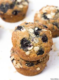 These Blueberry Oatmeal Muffins are bursting with blueberries and flavor! They are moist, soft + sweet. The perfect snack, dessert or breakfast! Vegan.
