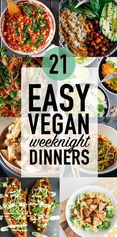 21 Easy Vegan Weeknight Dinners via @wallfloweraimee