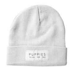 Designer Label   White Beanie - Hat -  - Puppies Make Me Happy