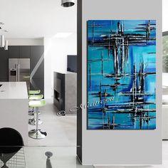 LARGE ARTWORK Original ABSTRACT paintings Blue Modern Art Original Contemporary Art Decorative Oil Oversize canvas large artwork