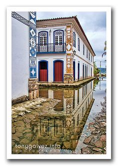 preserved Portuguese colonial and Brazilian Imperial town, Paraty, Brazil (the water comes is from flooding due to rising sea levels)