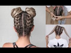 Space Buns - Double Bun - Upside down Dutch Braid - DIY tutorial! - YouTube