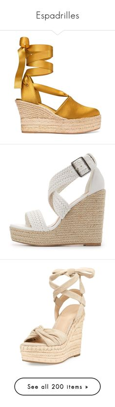 """""""Espadrilles"""" by selene-cinzia ❤ liked on Polyvore featuring shoes, sandals, espadrille wedge sandals, platform espadrilles, wrap sandals, platform wedge sandals, tory burch sandals, heels, wedges and white"""