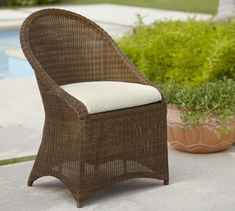 Incredible All Weather Wicker Palmetto Dining Chair Honey Pottery Barn Scroll To Next Item Furniture Patio Outdoor Chaise Lounge Loveseat Set Clearance Wicker Patio Chairs, Outdoor Wicker Furniture, Outdoor Dining Chairs, Dining Arm Chair, Dining Furniture, Chair Cushions, Adirondack Chairs, Wooden Furniture, Vintage Furniture