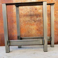 H Shape Steel Table legs by SteelImpression on Etsy Steel Dining Table, Steel Table Legs, Dining Tables, Diy Table Legs, Cleaning Wood, Wood Countertops, Wood Slab, Modern Table, Bar