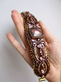 """Купить Браслет с лабрадоритом и сваровски """"Marsala"""" - Браслет ручной работы, браслет на руку, браслет с камнями"""
