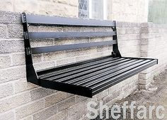 2 Seater Space Saving - Wall Mounted Foldable Metal Garden Seat / Bench
