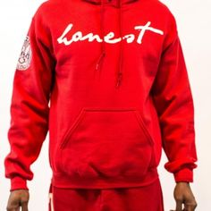 red honest hoody – men front