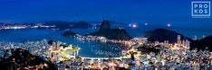 A panoramic view of Botafogo and the Sugarloaf Mount at night, Rio de Janeiro