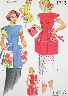 Vintage Apron Pattern - McCall's 1713 - Vtg 1952 - Cobbler Apron & Potholder Set Sewing Aprons, Mccalls Sewing Patterns, Vintage Sewing Patterns, Dress Patterns, Knitting Patterns, Apron Patterns, Pattern Sewing, Free Knitting, Vintage Apron Pattern
