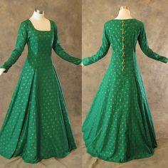 Medieval Renaissance Gown Green Gold Dress Costume LOTR Wedding LARP Shrek L | Clothing, Shoes & Accessories, Costumes, Reenactment, Theater, Reenactment & Theater | eBay!