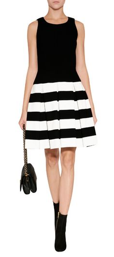 Bold black and white stripes lend a mod look to this fit and flare sheath from Milly #Stylebop