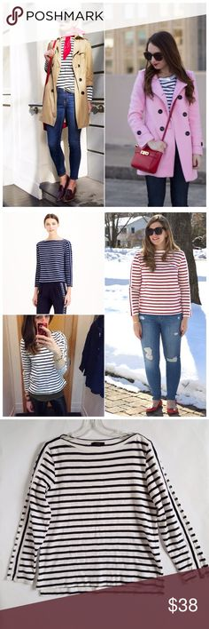 J.Crew Navy and White Striped Pullover Tee J.Crew Cotton (medium weight) Navy and White Striped Pullover Tee. Blogger favorite! Size S. Excellent, Like New Condition! Zero flaws. No rips, stains, tears. No Trades! J. Crew Tops Tees - Long Sleeve