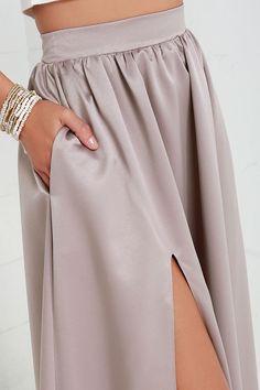 Taupe Maxi Skirt//