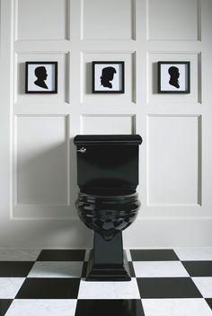 Traditional Bath Photos Black Toilet Design Pictures Remodel Decor and Ideas Kohler Bathroom, Bathroom Toilets, Laundry In Bathroom, White Bathroom, Bathroom Interior, Traditional Baths, Traditional Bathroom, Wc Decoration, Black Toilet