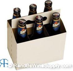 Beer Bottle Carrier - 6 Pack - White