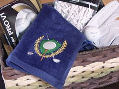 Free project instructions to make an embroidered grill towel or golf bag towel.