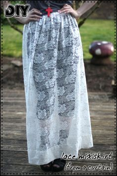 DIY Lace Maxi Skirt...Made From A Curtain! This is the best diy blog for clothes accessories shoes etcetc