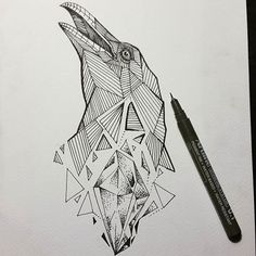 Image result for crow geometric tattoo