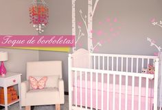 quarto de bebê com adesivo de parede borboletas  baby room girl pink butterfly
