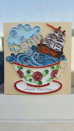 Red-Rimmed Teacup w/Flowers, Stormy Ocean & Ship Inside