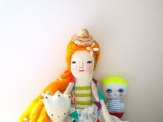 Hand crafted linen doll folk art display doll por JessQuinnSmallArt, £85.75