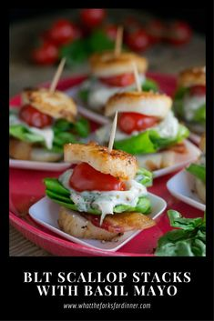 BLT Scallop Stacks with Basil Mayo - Scallops, bacon, lettuce, tomato, and basil mayo make the perfect appetizer for any party!