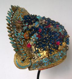 Headdress, silver gilt with glass beads, silk tassels and kingfisher, Chinese early 20th c  (Archives :  Sold Singkiang)
