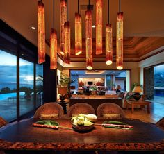 Dining Room with Bamboo lighting and great views