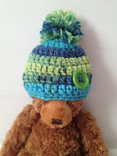 Baby boy crochet hat blue green pompom button  by LulasLuvables, $20.00