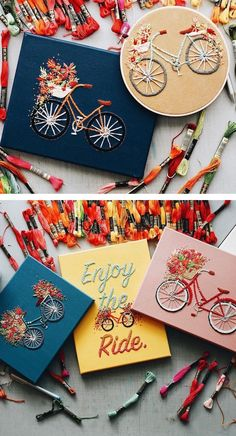 c46071d9c332fe Bicycle Embroidery Feature Lovely Baskets Overflowing with Colorful Flowers