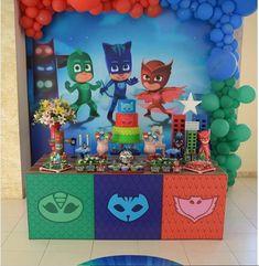 3 Year Old Birthday Party Boy, Birthday Cake Kids Boys, Happy 4th Birthday, Superhero Birthday Party, Toy Story Birthday, 4th Birthday Parties, Pj Masks Balloons, Pj Mask Party Decorations, Pjmask Party