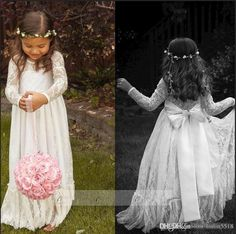 Cheap Dresses 2015 Cheap Long Sleeve Lace Flower Girl Dresses Jewel White A Line Floor Length Baby Formal Occasion Skirt First Communion Bridal Gowns Cute Dresses For Girls From Linlin5518, $56.4| Dhgate.Com