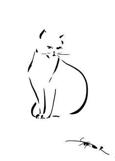 Cat Art Print from Black and White Drawing, Minimalist Cat, Modern Art, Drawing Art
