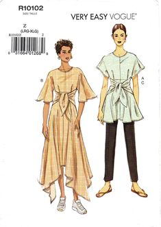 Pick Your Size - Vogue Separates Pattern - Misses' Tie Front Tunic or Dress and Tapered Pants - Very Easy Vogue Pattern Coat Pattern Sewing, Vogue Sewing Patterns, Vintage Sewing Patterns, Modern Patterns, Tie Front Dress, Tie Dress, Cub Scout Uniform, Sewing Lingerie, Dress Making Patterns