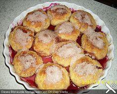 Baked plum dumplings by sissimuc Cream Cheese Recipes Dinner, Keto Cream Cheese Pancakes, Goat Cheese Recipes, Pancake Healthy, Vegan Pancake Recipes, Best Pancake Recipe, Homemade Pancakes, Pancakes Easy, Plum Dumplings