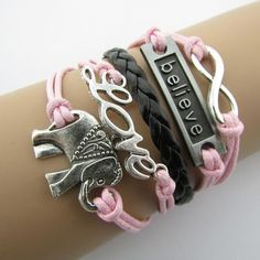 Elephant pendant believer pink girly bracelet. Inspirational message on a trendy beautiful teenage schoolgirl fashion jewelry. Good for : Birthday, Date